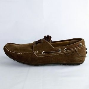 Ecco Brown Nubuck Driving Moccasin Mens 7.5